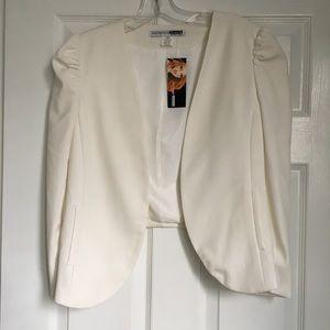 Fun puffed sleeve white blazer
